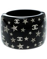 Chanel - Cc Resin Crystal Star Embellished Wide Cuff Bracelet - Lyst