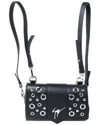 Giuseppe Zanotti Black Grommet Leather Gwen Backpack