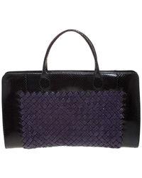 Bottega Veneta Purple/black Python And Intrecciato Straw Limited Edition 037/200 Tote