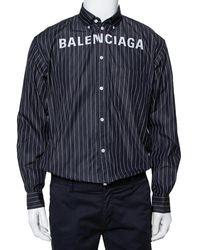 Balenciaga Black Striped Cotton Logo Embroidered Button Front Shirt