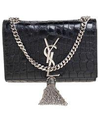 Saint Laurent Saint Laurent Black Croc Embossed Leather Small Kate Tassel Crossbody Bag