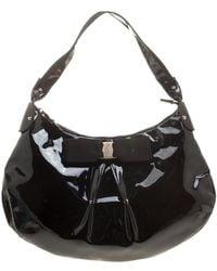 Ferragamo Black Patent Leather Miss Vara Hobo