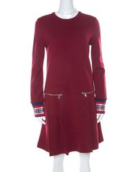 Marc By Marc Jacobs Burgundy Wool Drop-waist Back Button Detail Dress - Red