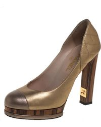 Chanel Metallic Gold/bronze Quilted Leather Cc Platform Court Shoes