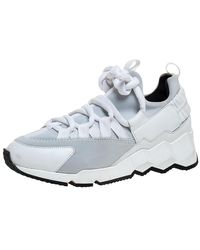 Pierre Hardy White/grey Neoprene And Leather Lace Up Trainer