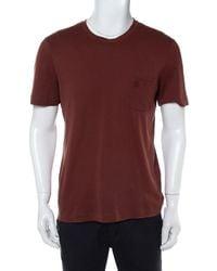 Louis Vuitton Brown Cotton Damier Pocket Detail Crewneck T-shirt