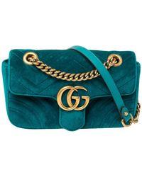 Gucci Teal Matelasse Velvet Mini GG Marmont Shoulder Bag - Green