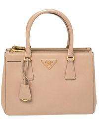 Prada Pink Saffiano Lux Leather Small Galleria Double Zip Tote