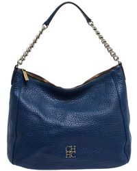 Carolina Herrera Blue Leather Chain Hobo