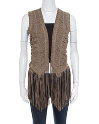Roberto Cavalli Brown Suede Perforated Fringed Vest