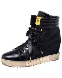 Loriblu Black Leather And Nylon Lace Up Wedge Trainers