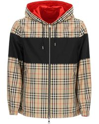 Burberry Beige/brown Reversible Vintage Check And Econyl Hooded Jacket - Natural
