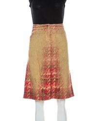 Roberto Cavalli Multicolor Faded Houndstooth Print Denim Skirt