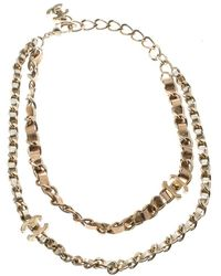 Chanel - Turnlock Leather Gold Tone Double Chain Necklace - Lyst