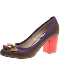 Etro - Canvas And Leather Block Heel Court Shoes - Lyst