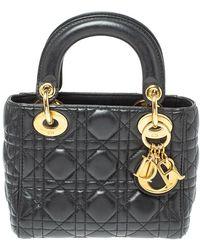 Dior Black Cannage Leather Mini Lady Tote