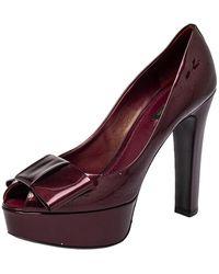Louis Vuitton Burgundy Monogram Vernis True Peep Toe Platform Pumps - Purple