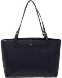 Tory Burch Navy Blue Leather Large York Buckle Tote