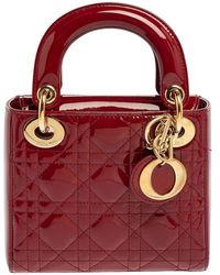 Dior Red Cannage Patent Leather Mini Chain Lady Tote