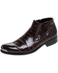 Baldinini Brown Crocodile Embossed Leather Ankle Boots