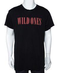 Amiri Black Cotton Wild Ones Print Round Neck T-shirt
