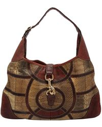 Gucci Multicolor Python Patchwork Leather Medium Jackie Hobo Bag - Brown