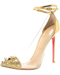 Christian Louboutin Gold Leather And Pvc Spike Embellished Ankle Wrap Pumps - Metallic