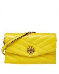 Tory Burch Yellow Leather Kira Chain Clutch
