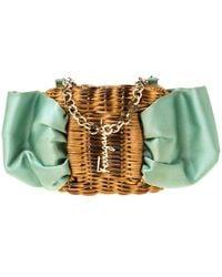 Ferragamo Mint Green/brown Rattan And Satin Bow Chain Clutch