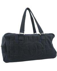 Chanel Town Bag Chocolate Bar Cotton Canvas Black Handbag