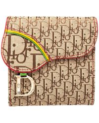Dior Canvas Brown/beige Canvas And Leather Rasta Saddle Compact Wallet - Natural
