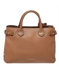 Burberry Beige Leather And House Check Fabric Medium Banner Tote - Natural