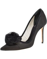 Dior Black Silk Midnight Garden Crystal Embellished Rosette Pointed Toe Court Shoes