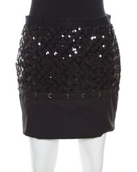 Louis Vuitton Black Sequin Grid Embellished Eyelet Lace Paneled Mini Skirt S