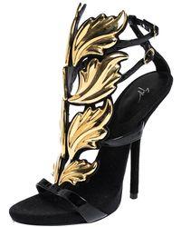 Giuseppe Zanotti Black/gold Leather And Suede Cruel Summer Sandals