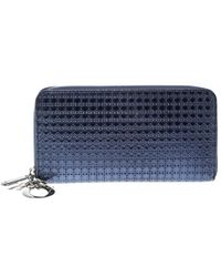 Dior - Blue Patent Leather Lady Zip Around Wallet - Lyst