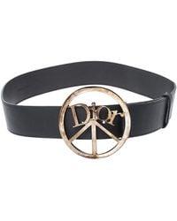 Dior Black Leather Round Logo Buckle Belt