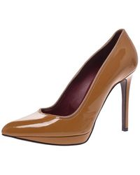 Lanvin Yellow Ochre Patent Leather Pointed Toe Platform Pumps