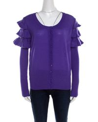 ESCADA Purple Mohair Wool Ruffle Tiered Detail Button Front Cardigan