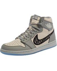 Dior X Jordan Grey/white Leather Air Jordan 1 High Top Sneakers - Gray