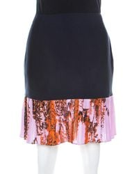 Dior Navy Blue And Lilac Floral Printed Silk Pleated Detail Mini Skirt
