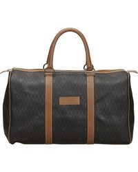 Dior Brown Honeycomb Coated Canvas Duffle Bag