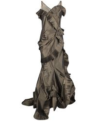 Dior Boutique Brown Pleated Ruffle Detail Sleeveless Tiered Evening Gown