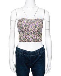 Louis Vuitton Multicolor Lurex Jacquard Strapless Crop Top