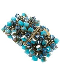 Etro - Crystal Cube Studded Gold Tone Wide Bracelet - Lyst