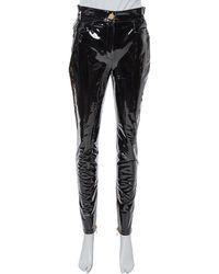 Balmain Black Vinyl High Waist Skinny Trousers