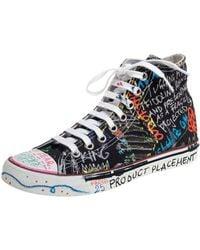 Vetements Multicolor Top High Graffiti Sneakers - Blue