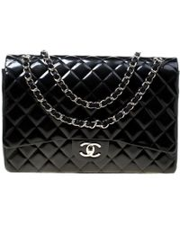 813804a4d42e Chanel - Metallic Marine Blue Quilted Striped Patent Leather Maxi Classic  Double Flap Bag - Lyst