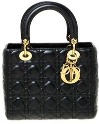 Dior Black Cannage Quilted Leather Medium Lady Tote