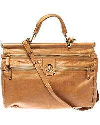 Roberto Cavalli Tan Leather Multiple Pocket Top Handle Bag - Brown